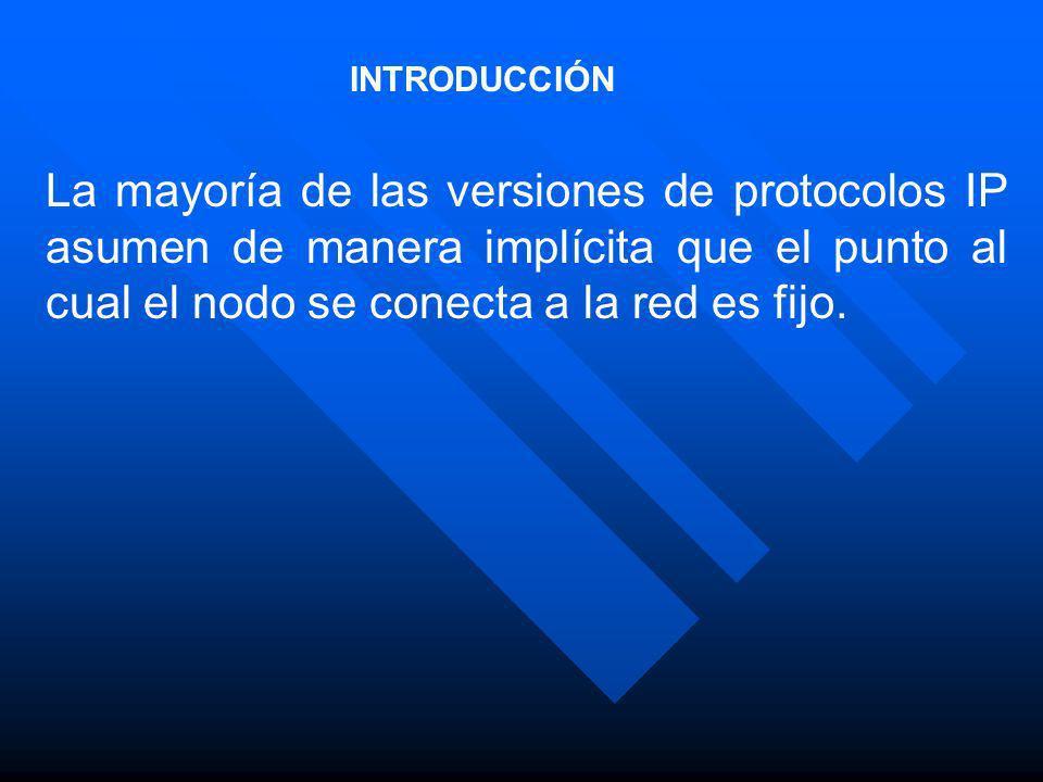 INTRODUCCIÓN La mayoría de las versiones de protocolos IP asumen de manera implícita que el punto al cual el nodo se conecta a la red es fijo.