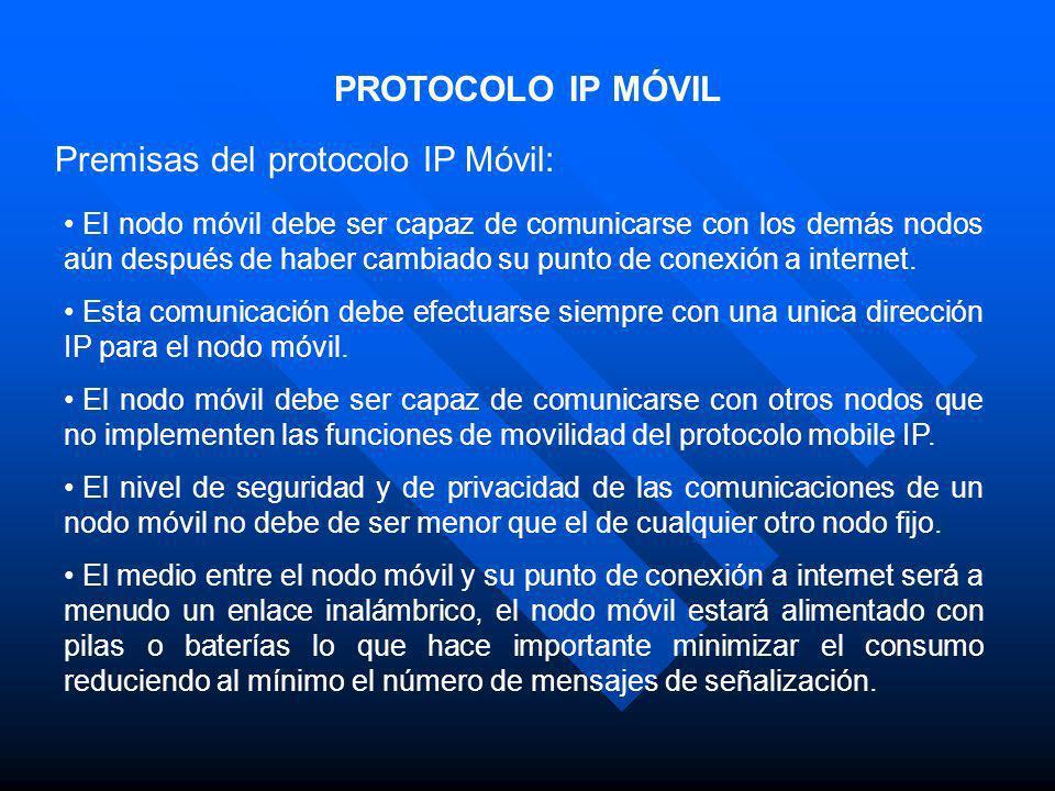 Premisas del protocolo IP Móvil: