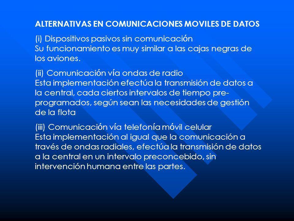 ALTERNATIVAS EN COMUNICACIONES MOVILES DE DATOS
