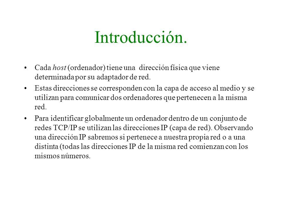 Introducción. Cada host (ordenador) tiene una dirección física que viene determinada por su adaptador de red.