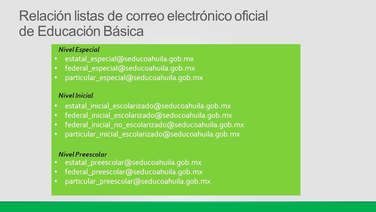 Relación listas de correo electrónico oficial de Educación Básica
