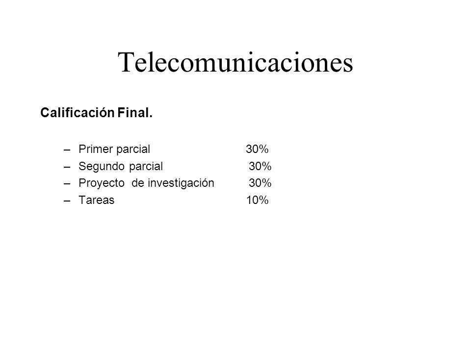 Telecomunicaciones Calificación Final. Primer parcial 30%