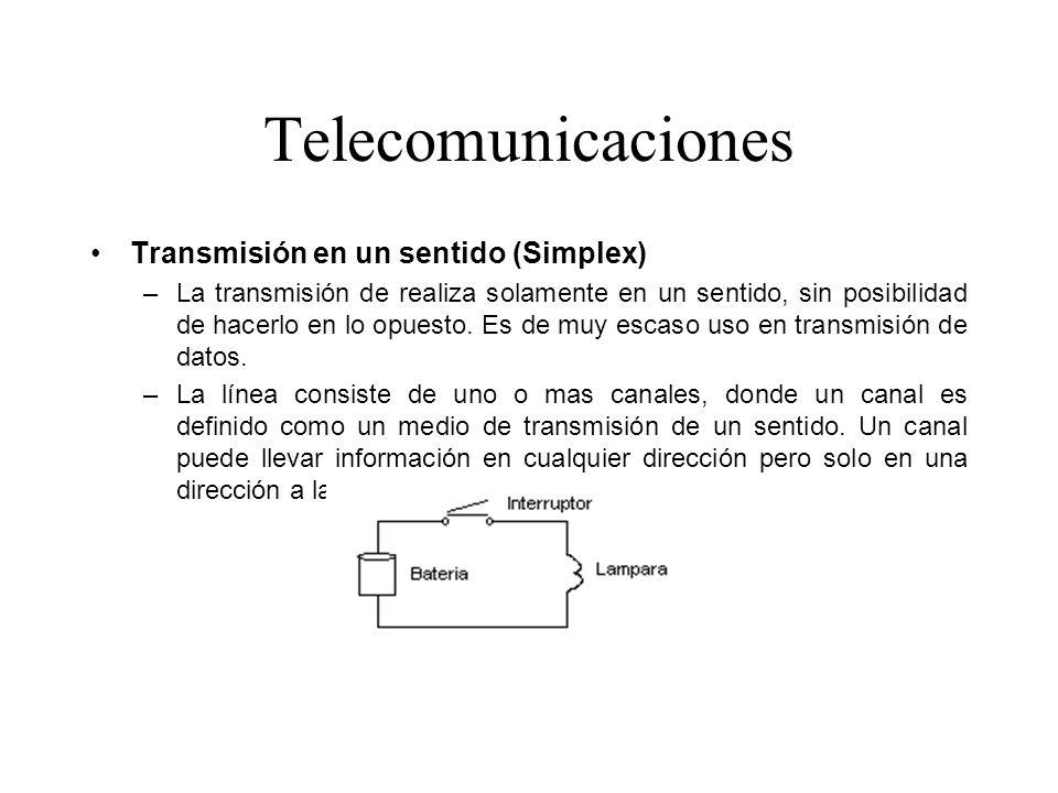 Telecomunicaciones Transmisión en un sentido (Simplex)