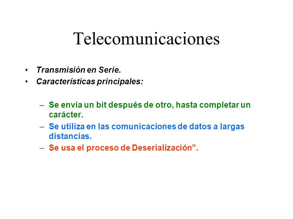 Telecomunicaciones Transmisión en Serie. Características principales: