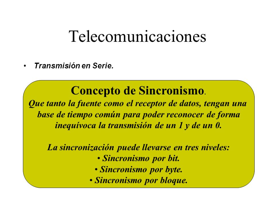 Telecomunicaciones Concepto de Sincronismo.
