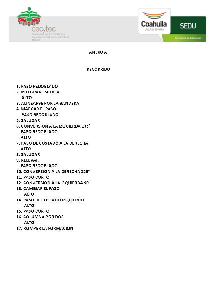 ANEXO A RECORRIDO. 1. PASO REDOBLADO. 2. INTEGRAR ESCOLTA. ALTO. 3. ALINEARSE POR LA BANDERA.