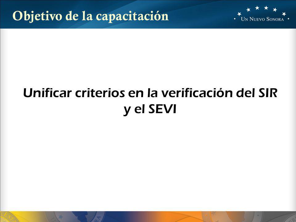 Unificar criterios en la verificación del SIR y el SEVI