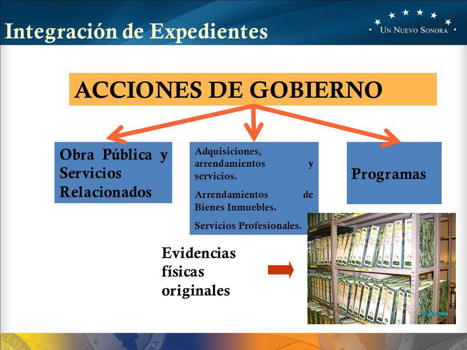 ACCIONES DE GOBIERNO Integración de Expedientes