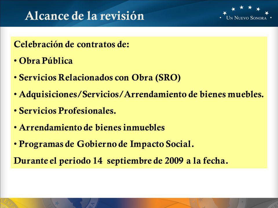Alcance de la revisión Celebración de contratos de: Obra Pública