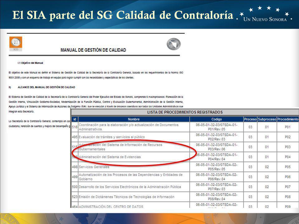 El SIA parte del SG Calidad de Contraloría