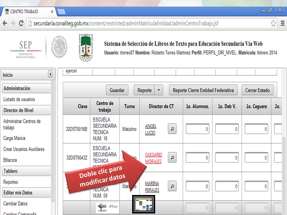 Doble clic para modificar datos