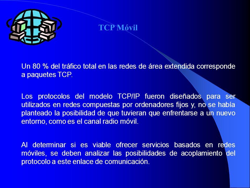 TCP Móvil Un 80 % del tráfico total en las redes de área extendida corresponde a paquetes TCP.