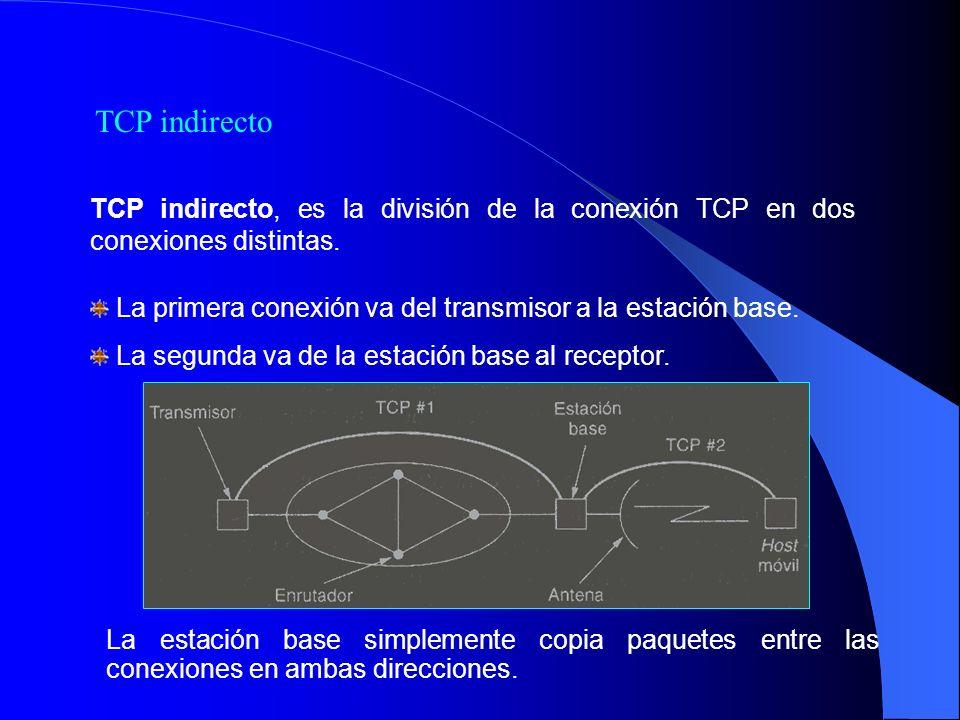 TCP indirecto TCP indirecto, es la división de la conexión TCP en dos conexiones distintas.
