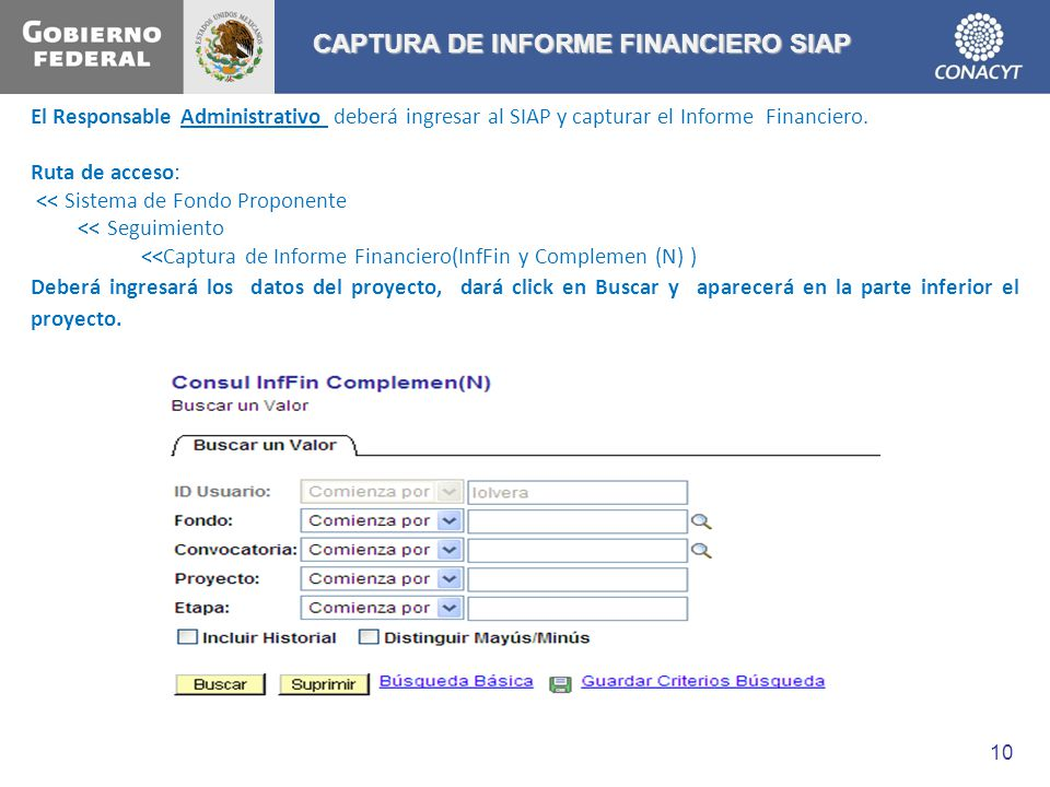 CAPTURA DE INFORME FINANCIERO SIAP