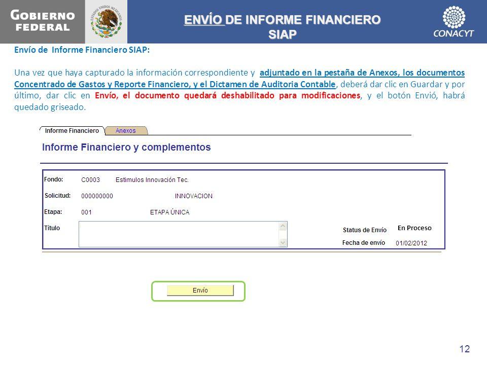 ENVÍO DE INFORME FINANCIERO