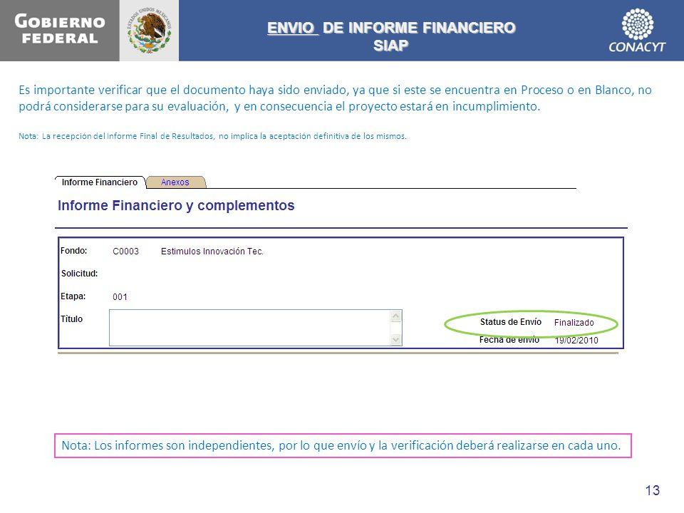 ENVIO DE INFORME FINANCIERO