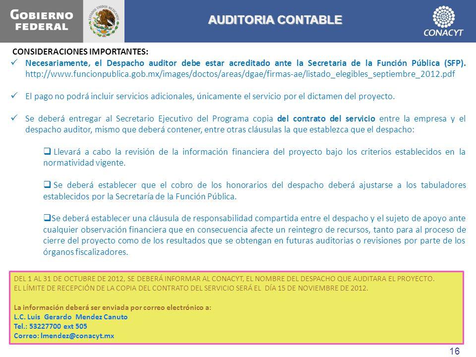 AUDITORIA CONTABLE CONSIDERACIONES IMPORTANTES: