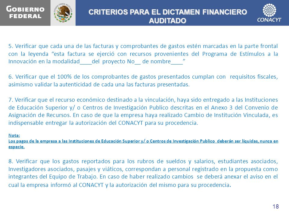 CRITERIOS PARA EL DICTAMEN FINANCIERO AUDITADO