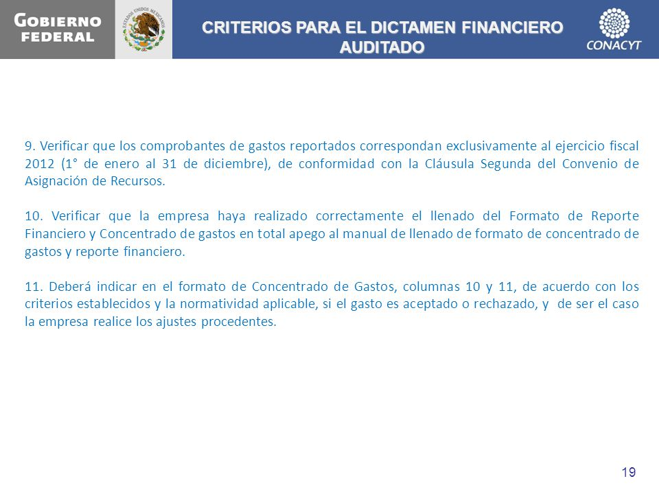 CRITERIOS PARA EL DICTAMEN FINANCIERO AUDITADO