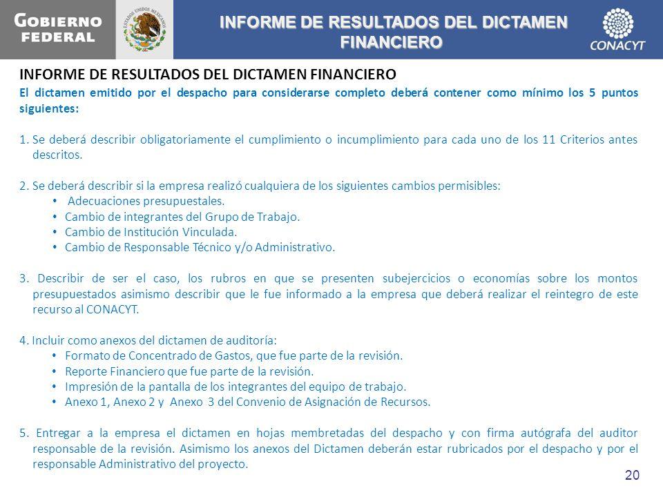 INFORME DE RESULTADOS DEL DICTAMEN FINANCIERO