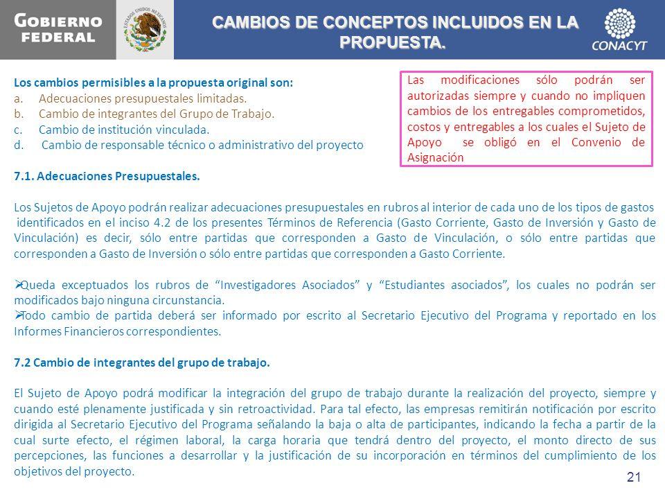 CAMBIOS DE CONCEPTOS INCLUIDOS EN LA PROPUESTA.