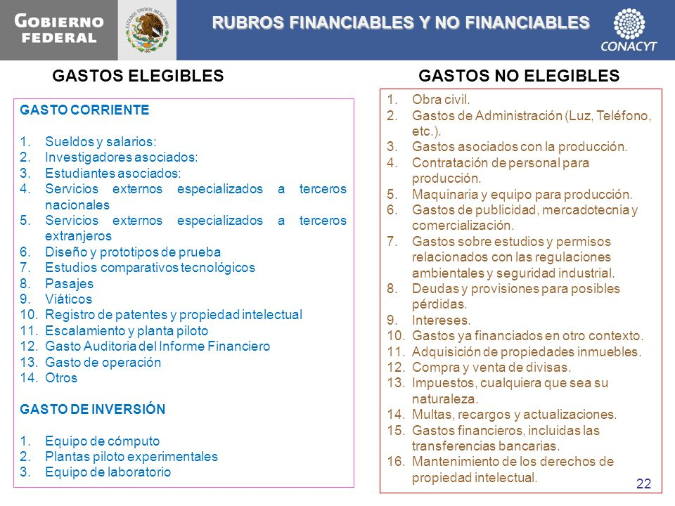 RUBROS FINANCIABLES Y NO FINANCIABLES