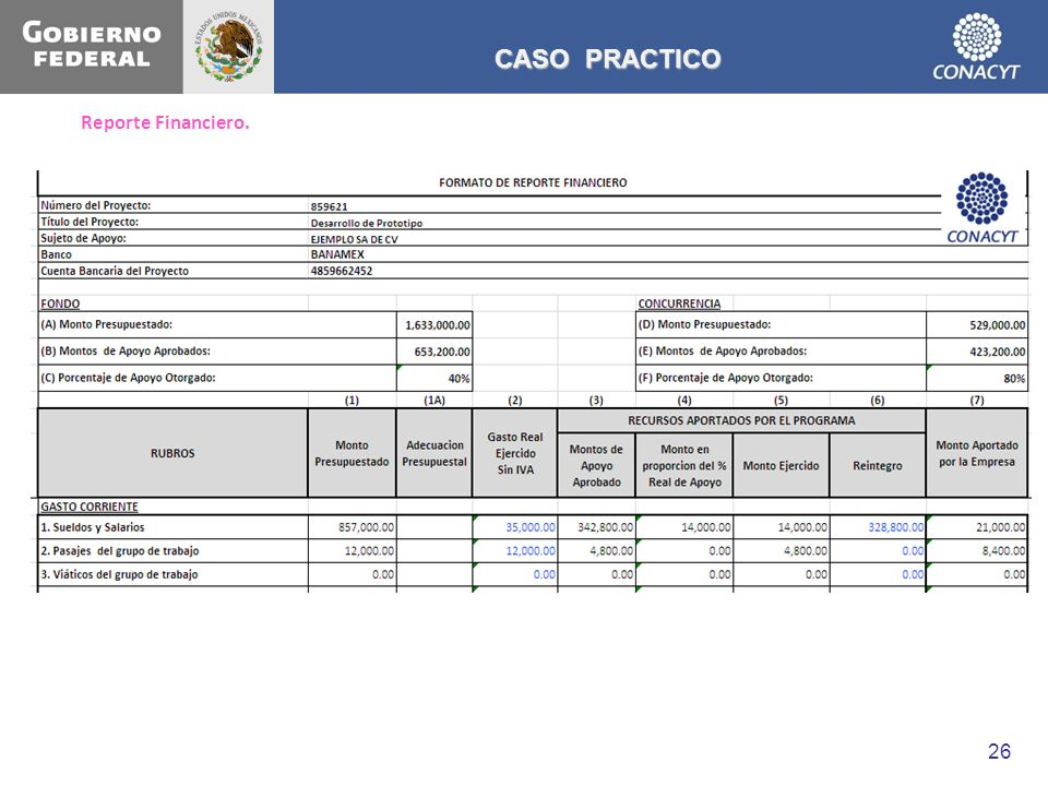 CASO PRACTICO Reporte Financiero.