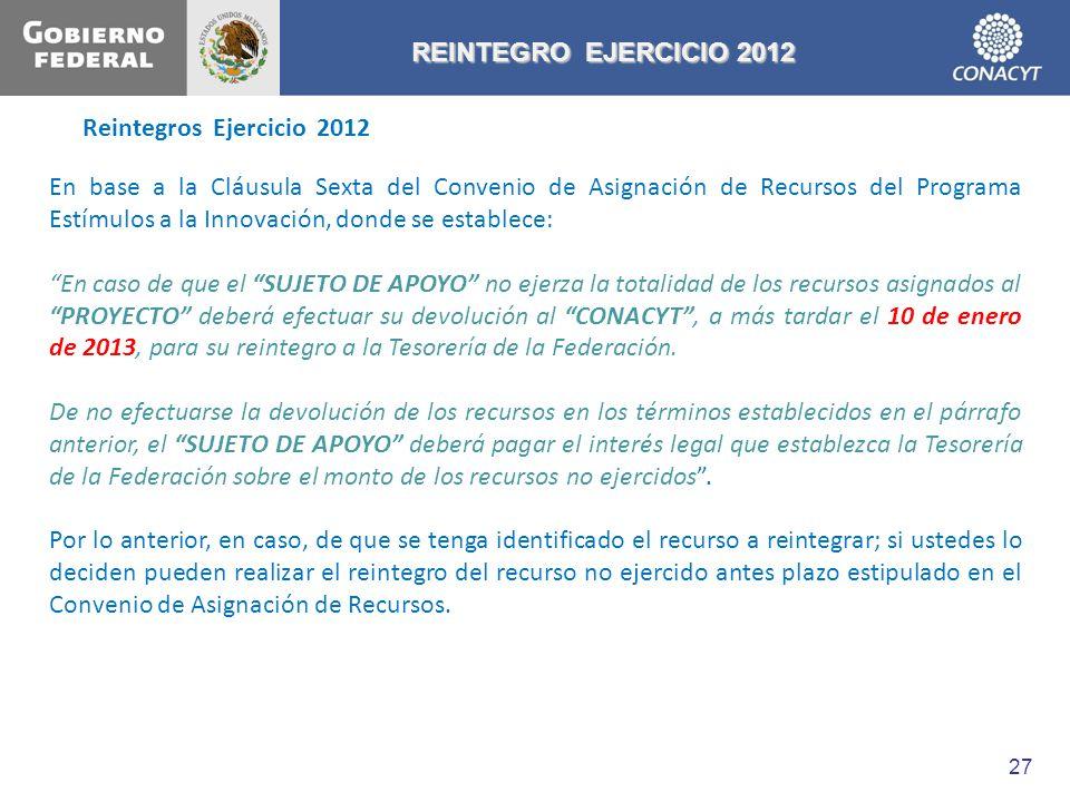 REINTEGRO EJERCICIO 2012 Reintegros Ejercicio 2012.