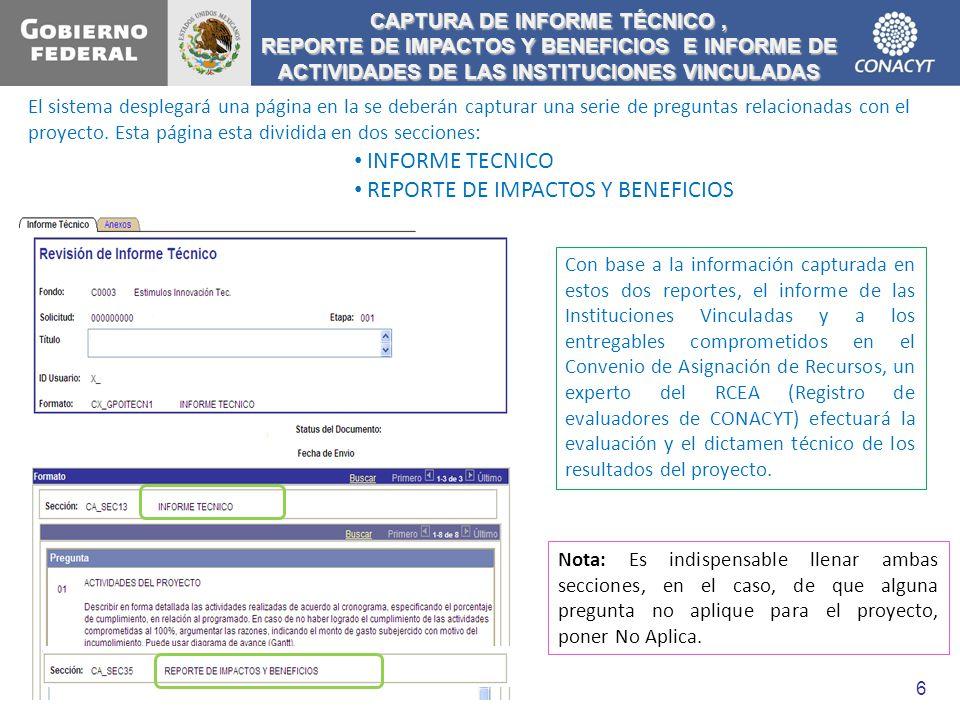 CAPTURA DE INFORME TÉCNICO ,
