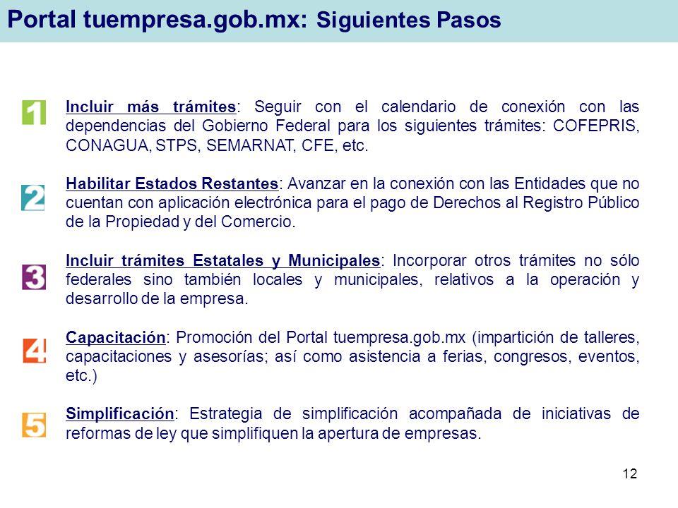 Portal tuempresa.gob.mx: Siguientes Pasos