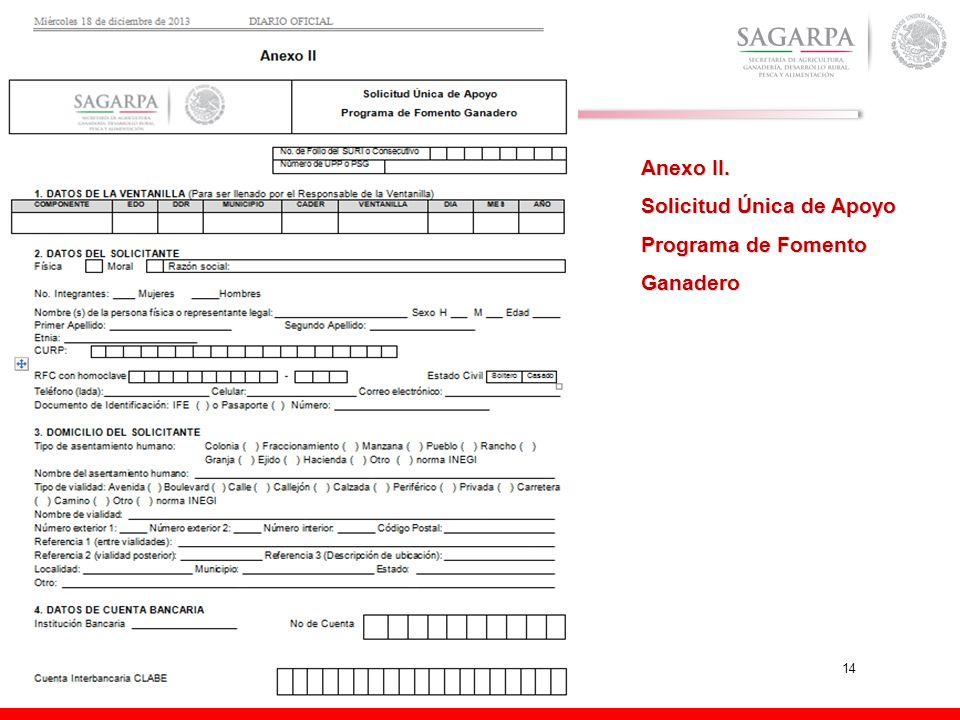 Anexo II. Solicitud Única de Apoyo Programa de Fomento Ganadero