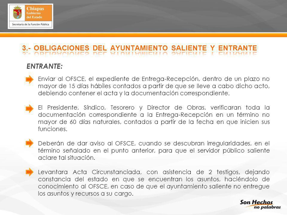 3.- OBLIGACIONES DEL AYUNTAMIENTO SALIENTE Y ENTRANTE