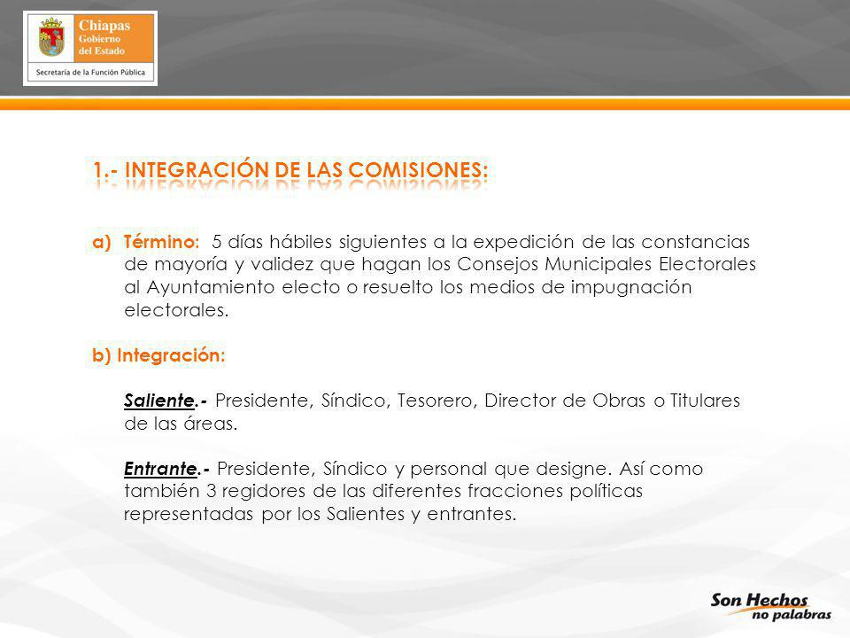 1.- INTEGRACIÓN DE LAS COMISIONES: