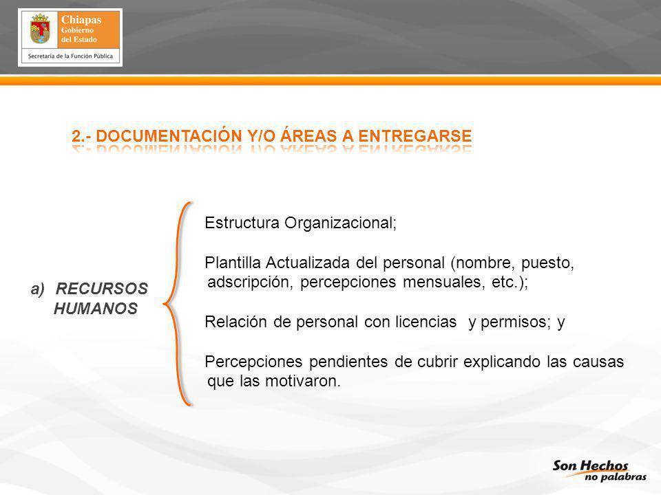 2.- DOCUMENTACIÓN Y/O ÁREAS A ENTREGARSE