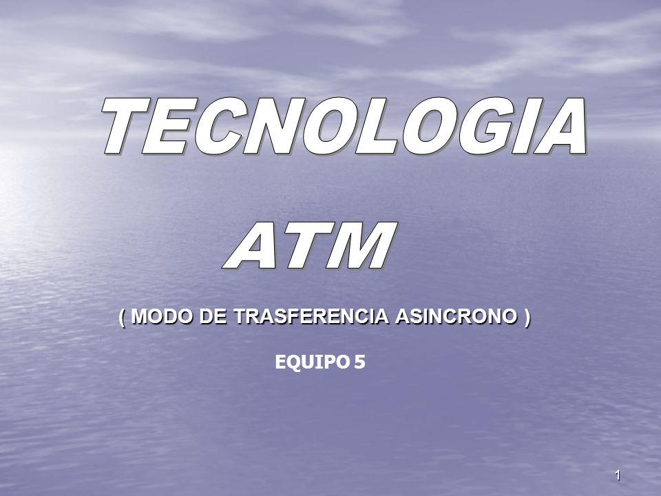 TECNOLOGIA ATM ( MODO DE TRASFERENCIA ASINCRONO ) EQUIPO 5