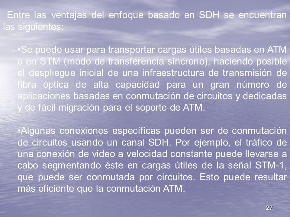 Entre las ventajas del enfoque basado en SDH se encuentran las siguientes: