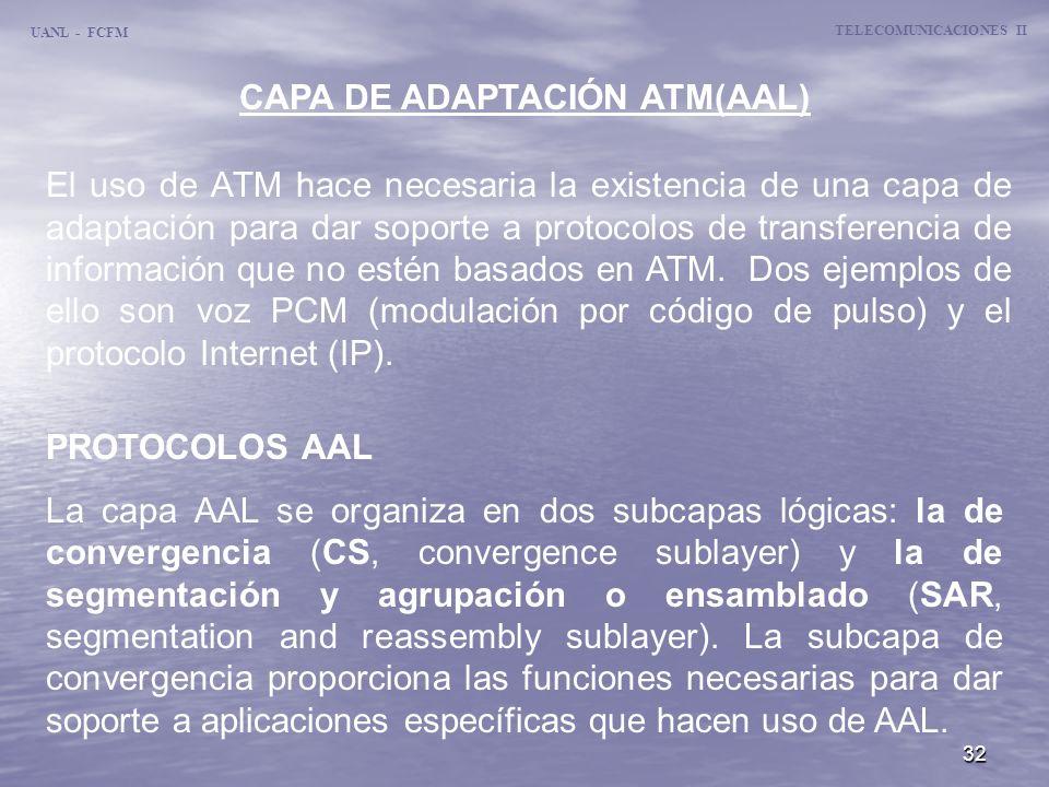 TELECOMUNICACIONES II CAPA DE ADAPTACIÓN ATM(AAL)