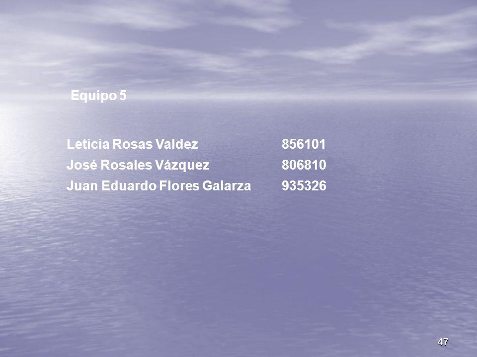 Equipo 5 Leticia Rosas Valdez 856101 José Rosales Vázquez 806810 Juan Eduardo Flores Galarza 935326