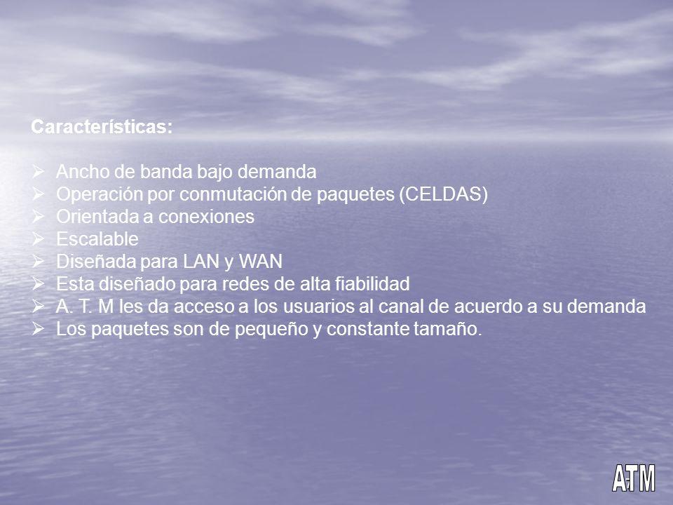 ATM Características: Ancho de banda bajo demanda