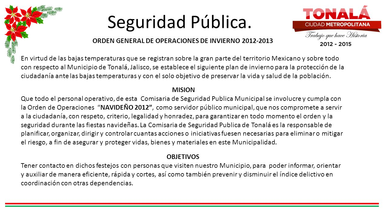 ORDEN GENERAL DE OPERACIONES DE INVIERNO 2012-2013