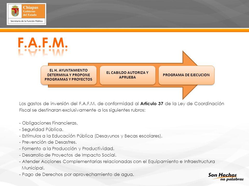 F.A.F.M. EL H. AYUNTAMIENTO DETERMINA Y PROPONE PROGRAMAS Y PROYECTOS. EL CABILDO AUTORIZA Y APRUEBA.