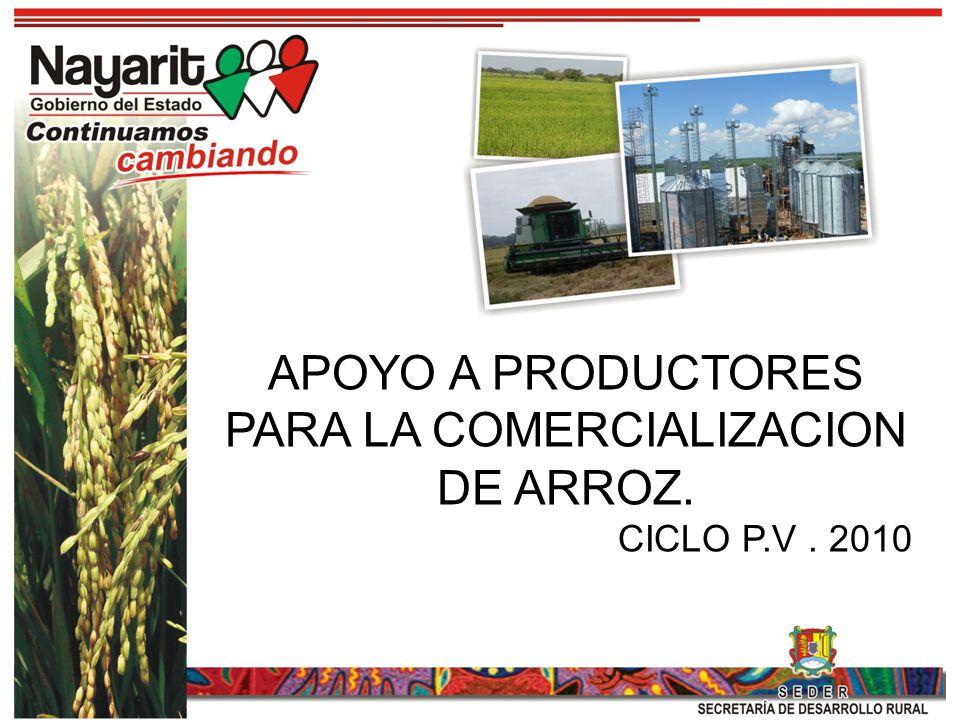 APOYO A PRODUCTORES PARA LA COMERCIALIZACION DE ARROZ.
