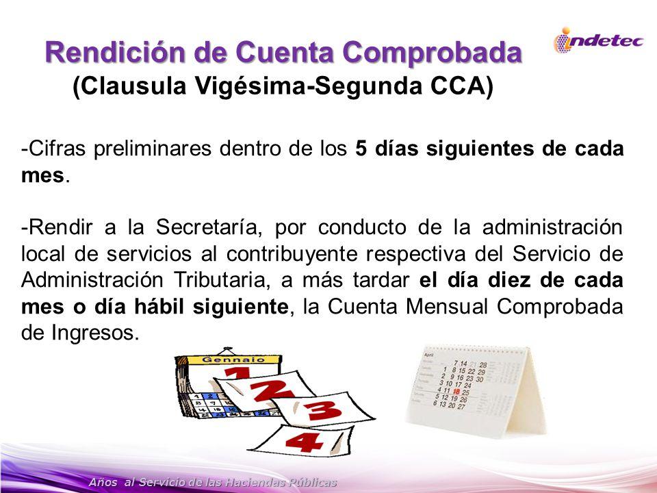 Rendición de Cuenta Comprobada (Clausula Vigésima-Segunda CCA)