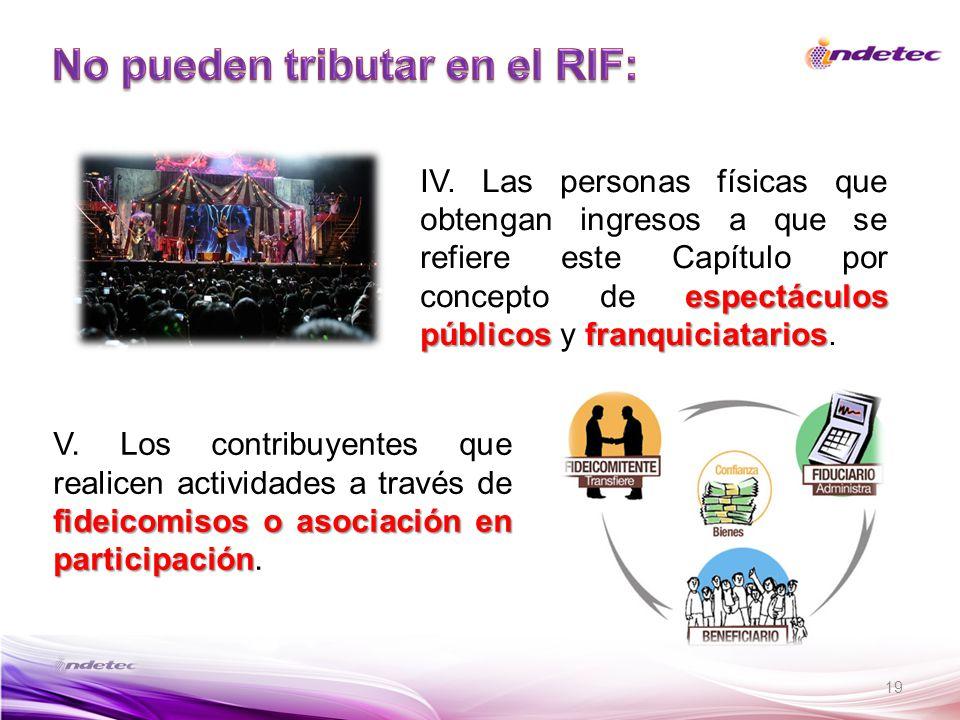 No pueden tributar en el RIF: