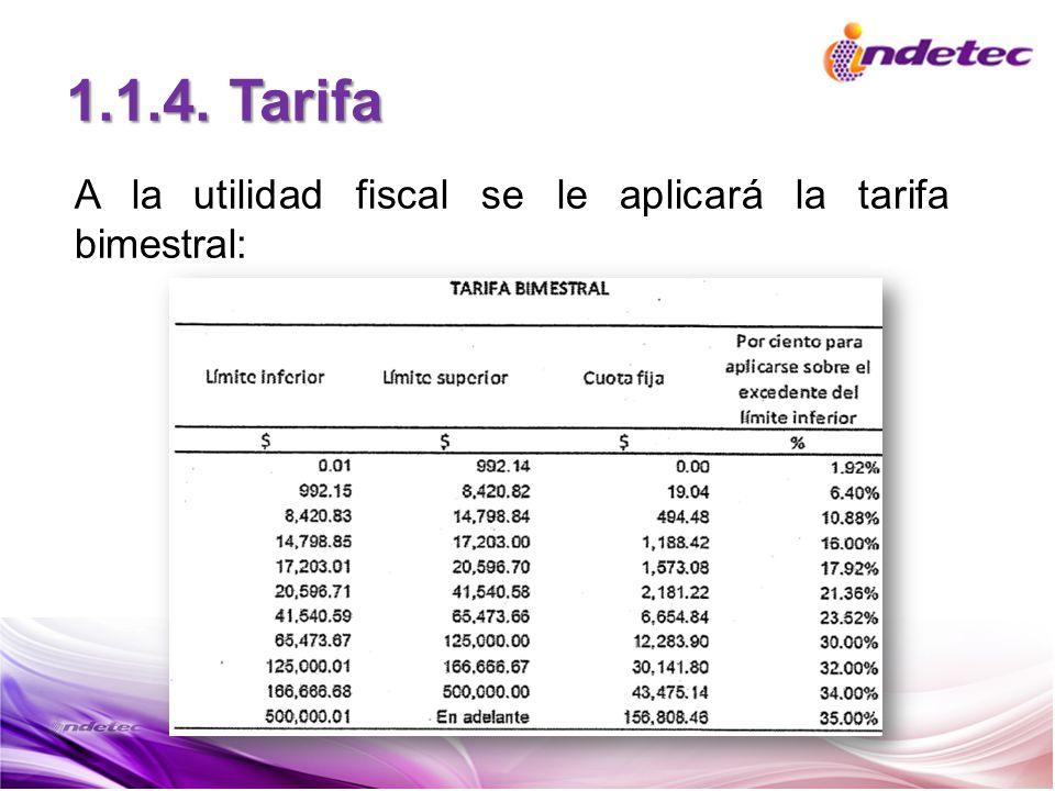 A la utilidad fiscal se le aplicará la tarifa bimestral: