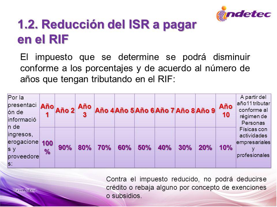 1.2. Reducción del ISR a pagar en el RIF