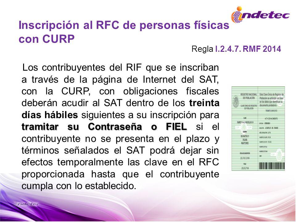 Inscripción al RFC de personas físicas con CURP