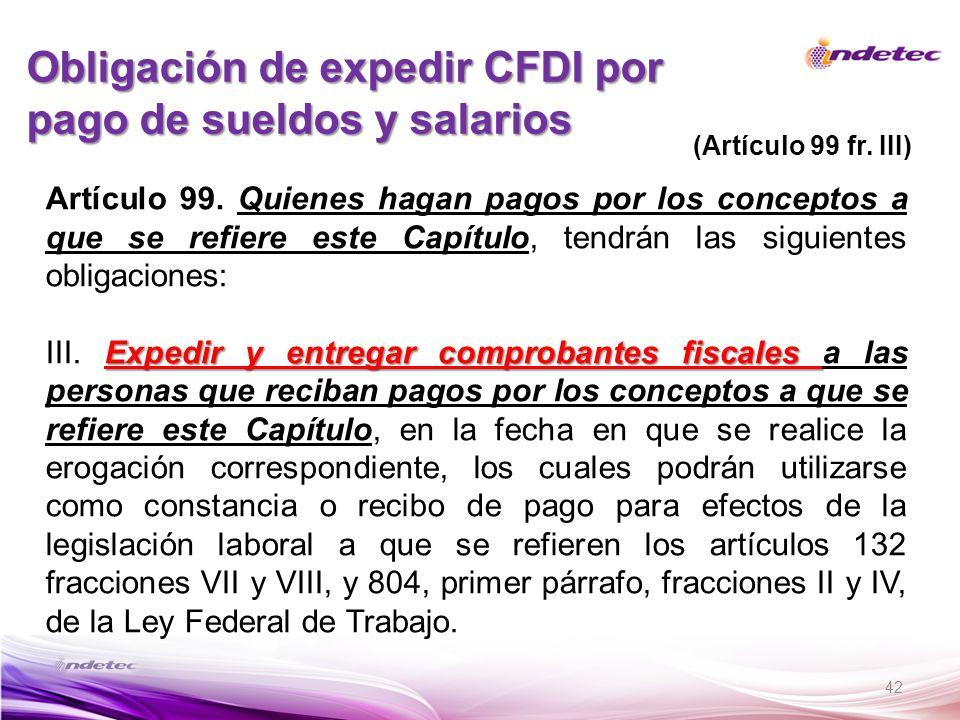 Obligación de expedir CFDI por pago de sueldos y salarios