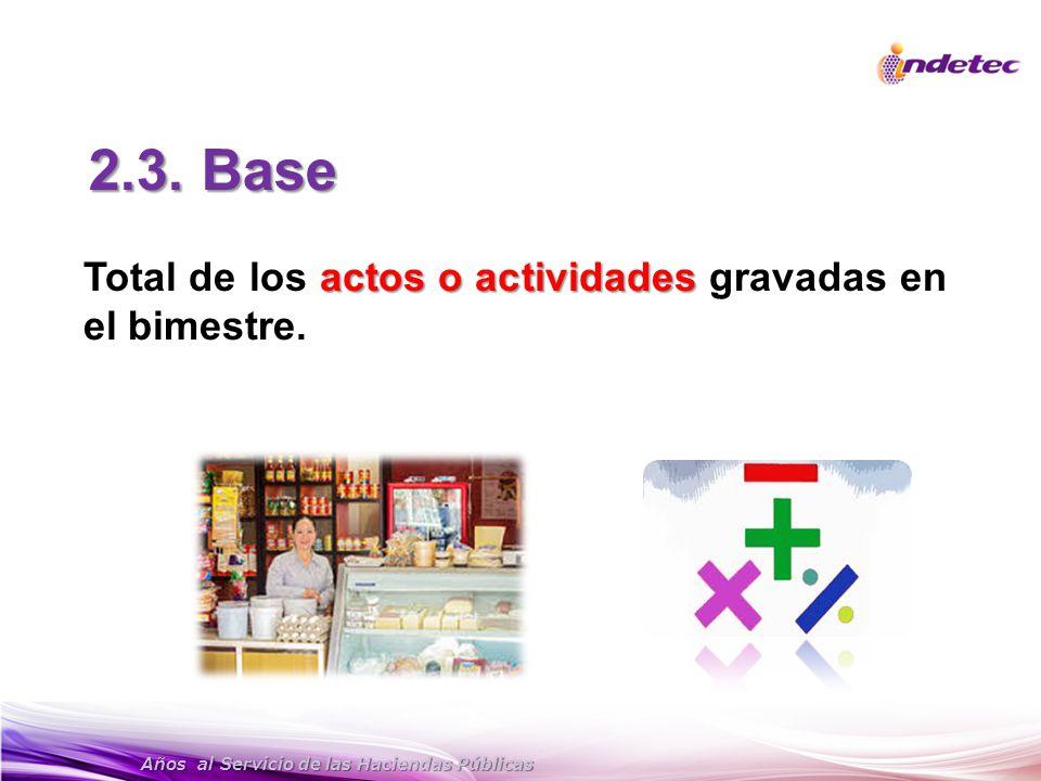 2.3. Base Total de los actos o actividades gravadas en el bimestre.