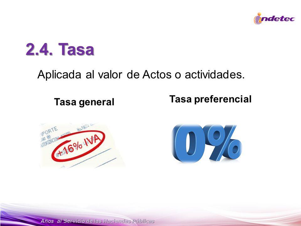 2.4. Tasa Aplicada al valor de Actos o actividades. Tasa preferencial